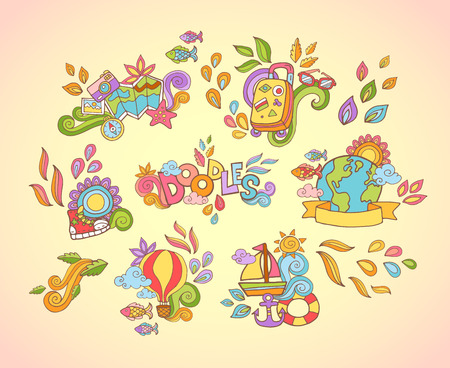 ocean cartoon: Doodle hand drawn sticker with travel and summer adventures items in colorful style isolated