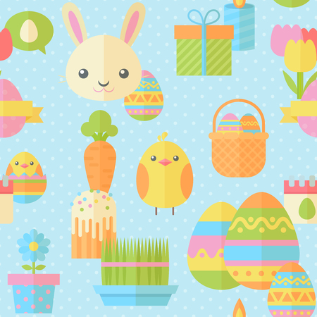 cartoon calendar: Cute Easter seamless pattern in flat with traditional spring holiday elements for fabric, website backgrounds