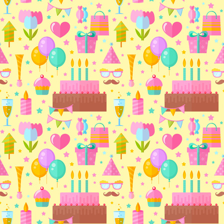 website backgrounds: Festive birthday seamless pattern in flat style with celebration elements for fabric, website backgrounds Illustration