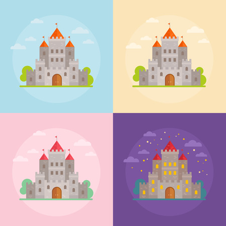chivalry: Flat medieval castles set with clouds, trees and night scene