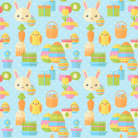 cartoon easter basket: Cute Easter seamless pattern in flat with traditional spring holiday elements for fabric, website backgrounds