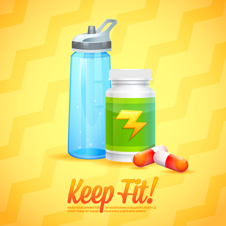 botle: Sport and Fitness motivation poster with water bottle and vitamins for cards, invitations and brochures