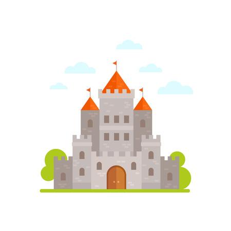 castello medievale: cartone animato piatto castello medievale in pietra isolato su sfondo bianco Vettoriali