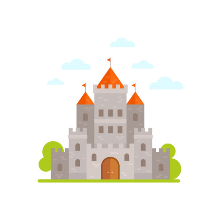 white house: Flat cartoon medieval stone castle isolated on white background