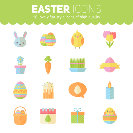 cartoon calendar: Colorful spring Easter flat icons set with bunnies, chicken, eggs, candles, flowers for web design and postcards Illustration