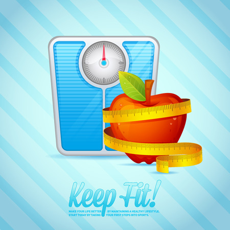 weight scales: Sport and Fitness motivational poster with weight scales and apple for cards, invitations and brochures Illustration