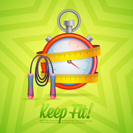 Sport and Fitness motivation poster with stopwatch and skipping rope for cards, invitations and brochures