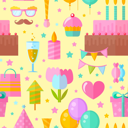 champagne celebration: Festive birthday seamless pattern in flat style with celebration elements for fabric, website backgrounds Illustration