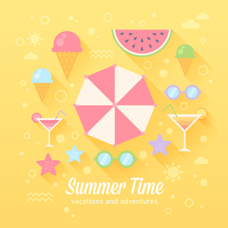 Summer flat card with holiday vacation icons, umbrella, sunglasses, ice-cream, cocktail, watermelon, starfish, isolated on background