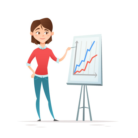 Hipster business woman character, standing with strategy presentation income charts, isolated on white