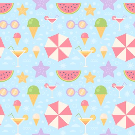 夏天无缝模式与阳伞,太阳镜,冰淇淋,西瓜,海,海星,印刷,织物和网页设计,壁纸