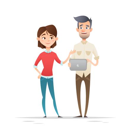 Junge Hippie-Business-Zeichen, Studenten, Frau und Mann, stehend, hält Gadgets, Smartphone und Tablet, isoliert auf weiß