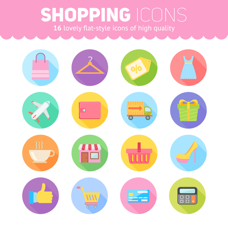 web shopping: Flat shopping icons pack for mobile applications, online marketing business, web design, online web stores, trading and sales, browser games Illustration