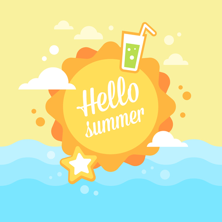 summer sky: Summer sun flat card with holiday vacation icons on a blue sky background Illustration