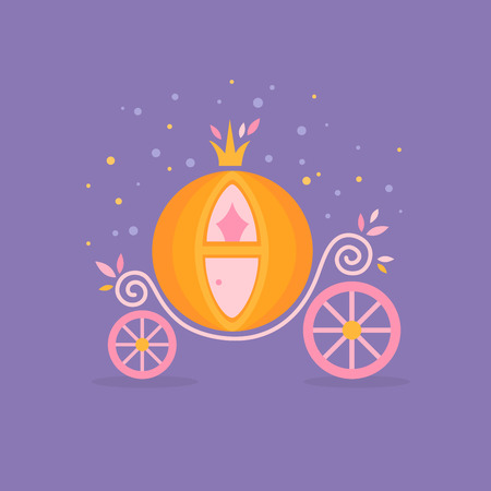 Pumpkin carriage for Cinderella, cartoon fairy-tale flat illustration isolated with decorative ornate elements Illustration