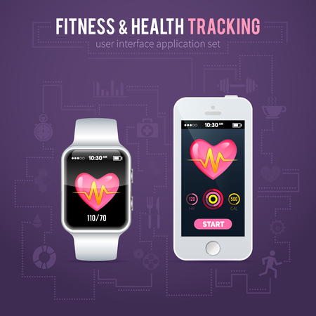 health and fitness: Health fitness tracker application interface on realistic smart watch and phone for mobile apps, web design, social networks, healthcare business commercial