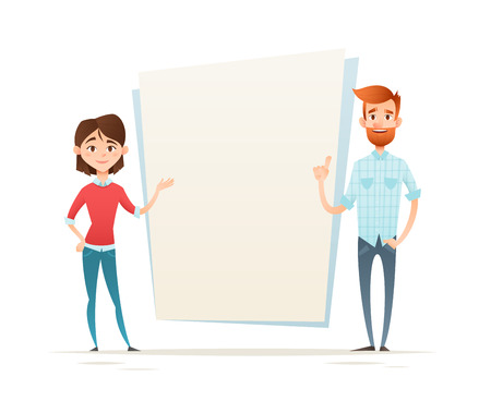 Young hipster business characters, students, woman and man standing, empty presentation space for text, isolated on white  イラスト・ベクター素材
