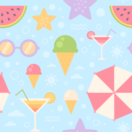 Summer seamless pattern with sun umbrella, sunglasses, ice-cream, watermelon, sea, starfish, for print, fabric and web design, wallpaper Illustration
