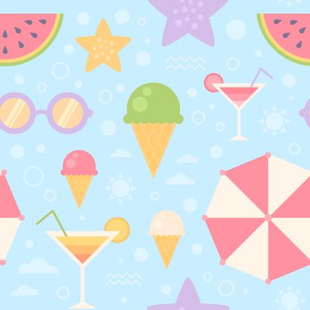 Summer seamless pattern with sun umbrella, sunglasses, ice-cream, watermelon, sea, starfish, for print, fabric and web design, wallpaper Banco de Imagens - 60379189