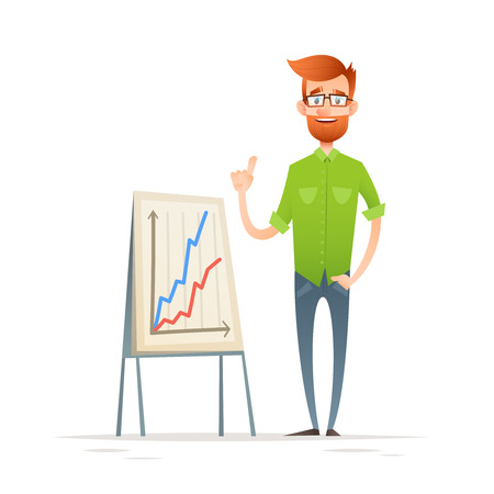 Hipster businessman character, standing with strategy presentation income charts, isolated on white