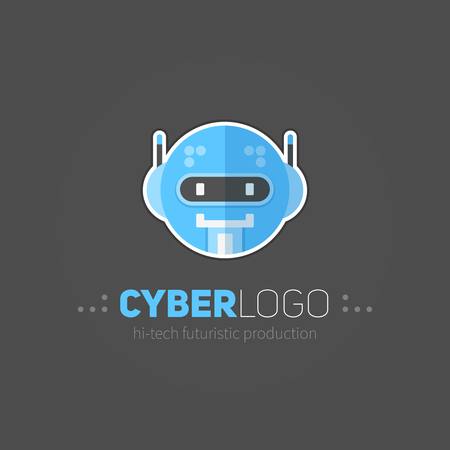 Robot head logotype in flat-style for technology producing companies and business