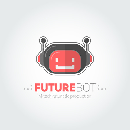 robot head: Robot head logotype in flat-style for technology producing companies and business