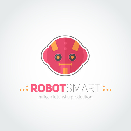 producing: Robot head logotype in flat-style for technology producing companies and business
