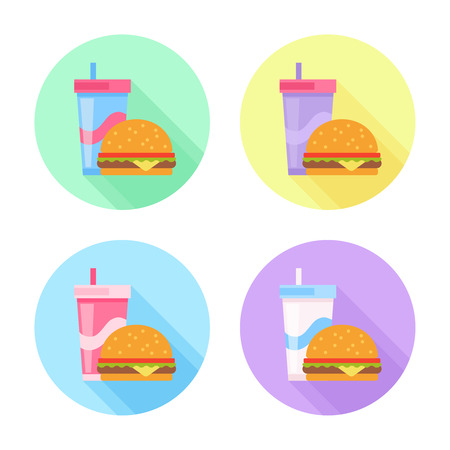 Flat icons set with tasty hamburger and soda drink Illusztráció