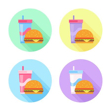 Flat icons set with tasty hamburger and soda drink Stock Illustratie