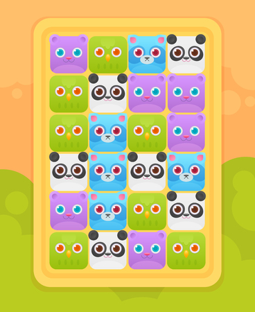 user interface: Match three mobile game user interface with cute square animals icons: bear, panda, raccoon, bird Illustration