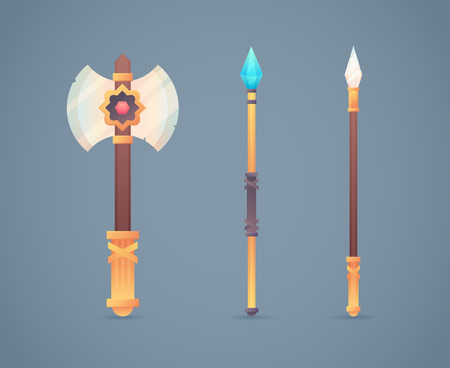 Fantasy medieval cold weapon set in flat-style design: golden battle axe, magic staff and long spear Ilustracja