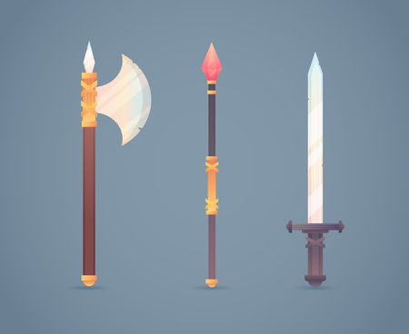 mage: Fantasy medieval cold weapon set in flat-style design: battle axe, magic staff and steel long sword Illustration