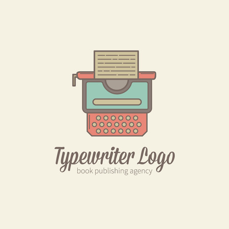 publishing: Thin-lined stylized typewriter logotype in trendy flat style for publishing and copywriting business, book agencies Illustration