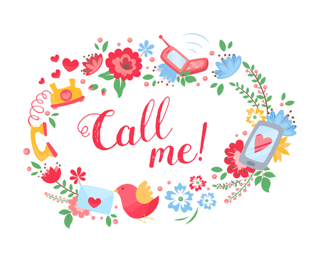 call me: Elegant floral postcard with call me text, cute birds for greeting cards and invitations