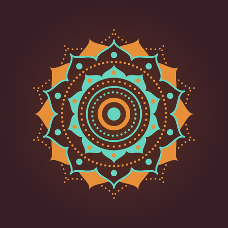 Ornate symmetrical mandala geometric illustration with dotted strokes, isolated on dark background