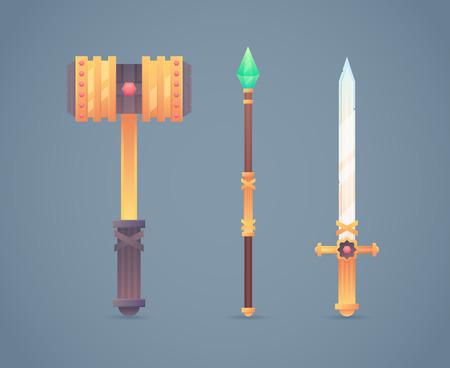 warhammer: Fantasy medieval cold weapon set in flat-style design: golden war hammer, magic staff and steel long sword Illustration