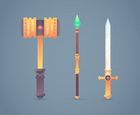Fantasy medieval cold weapon set in flat-style design: golden war hammer, magic staff and steel long sword Illustration
