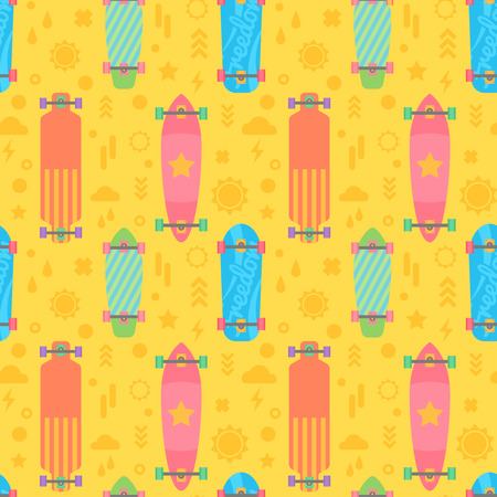 decks: Flat longboards seamless pattern with colorful decks for print, fabric, web-design and backgrounds