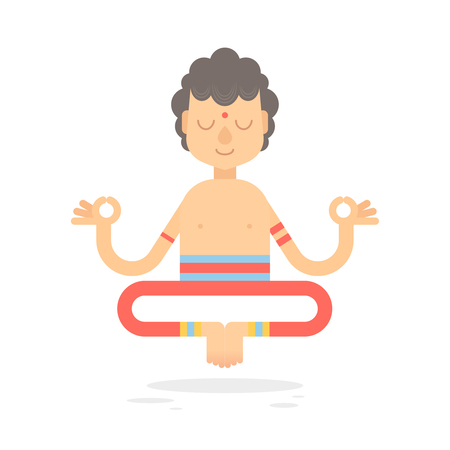 buddhist: Flat meditating cartoon yogi character in lotus pose, wearing Indian clothes, isolated on white background