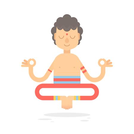 yogi: Flat meditating cartoon yogi character in lotus pose, wearing Indian clothes, isolated on white background