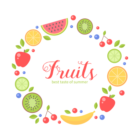 Flat fresh fruits collection circle card for greeting and invitation templates, health commercial, print and web-design Illustration