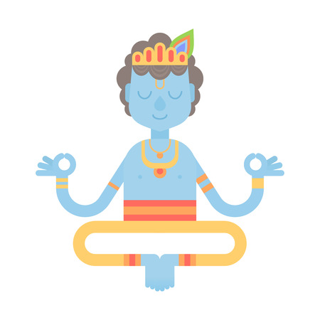 Flat meditating cartoon Krishna character in lotus yoga pose, wearing Indian clothes, isolated on white background