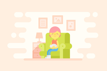 Girl sitting in a cozy armchair with a cat on a lap. Flat style cartoon character and room interior illustration for advertisement