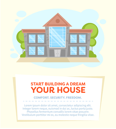commercial real estate: Cartoon house card for real estate and property sale companies, advertisement and commercial banner with text Illustration