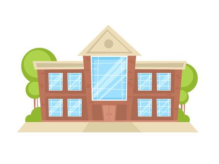 Flat cartoon building with trees and ground, isolated on white background Illustration