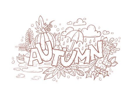 art therapy: Autumn doodle hand-drawn page with outlines  for adult coloring book, art therapy, isolated on white background