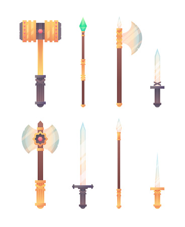 Fantasy medieval cold weapon set in flat-style design for games, isolated on white background Illustration