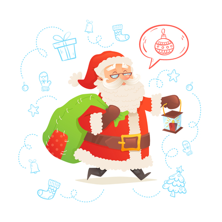 card suits symbol: Cute Santa Claus isolated on background with and a sack of presents for a merry Christmas and Happy New Year postcards and invitations Illustration