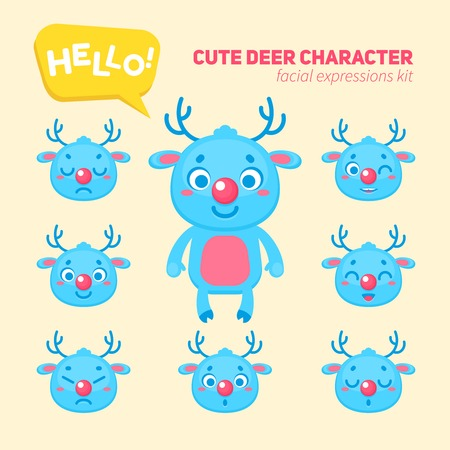 creation kit: Cute Christmas deer character creation kit, construction elements and facial expressions for building  reindeer for kids toys, video games and halloween designs Illustration