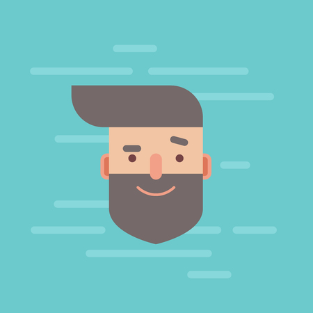 Trendy flat hipster character portrait with smiling facial expression, head isolated on colorful background